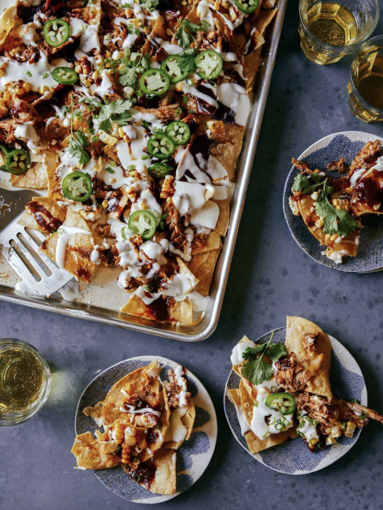 Tin pan Chipotle Chicken nachos from spoon and fork bacon