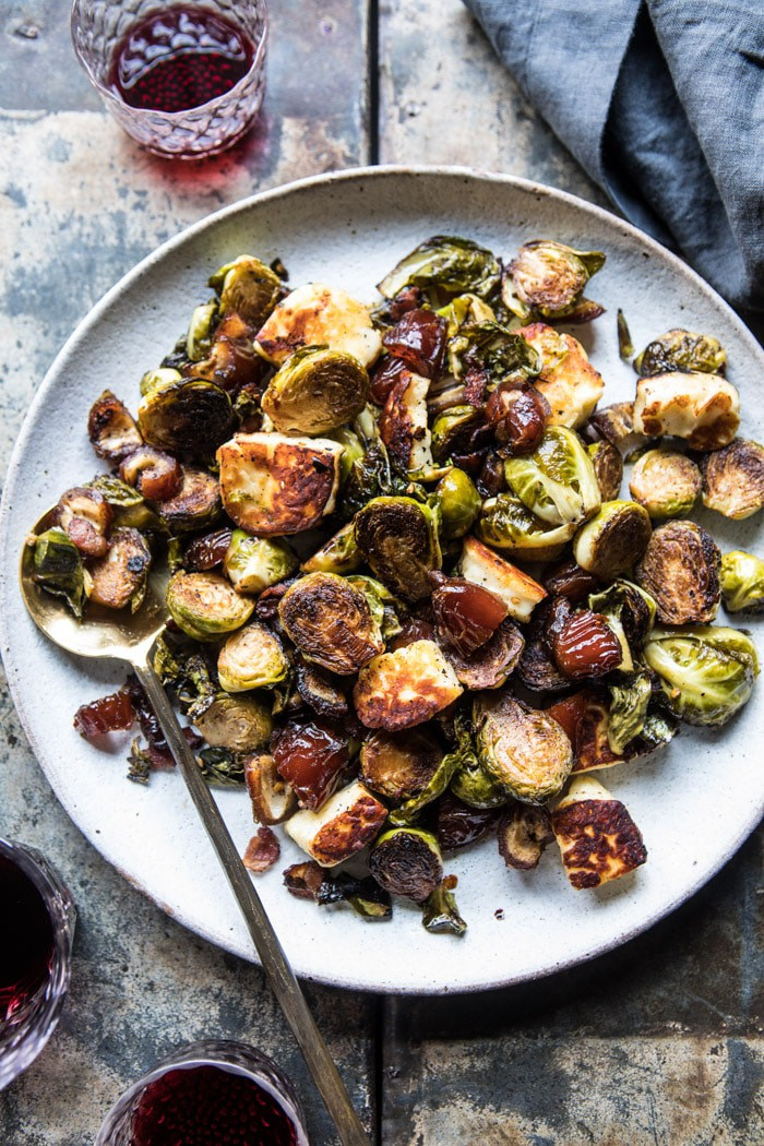 pan roasted brussels sprouts with bacon date and halloumi