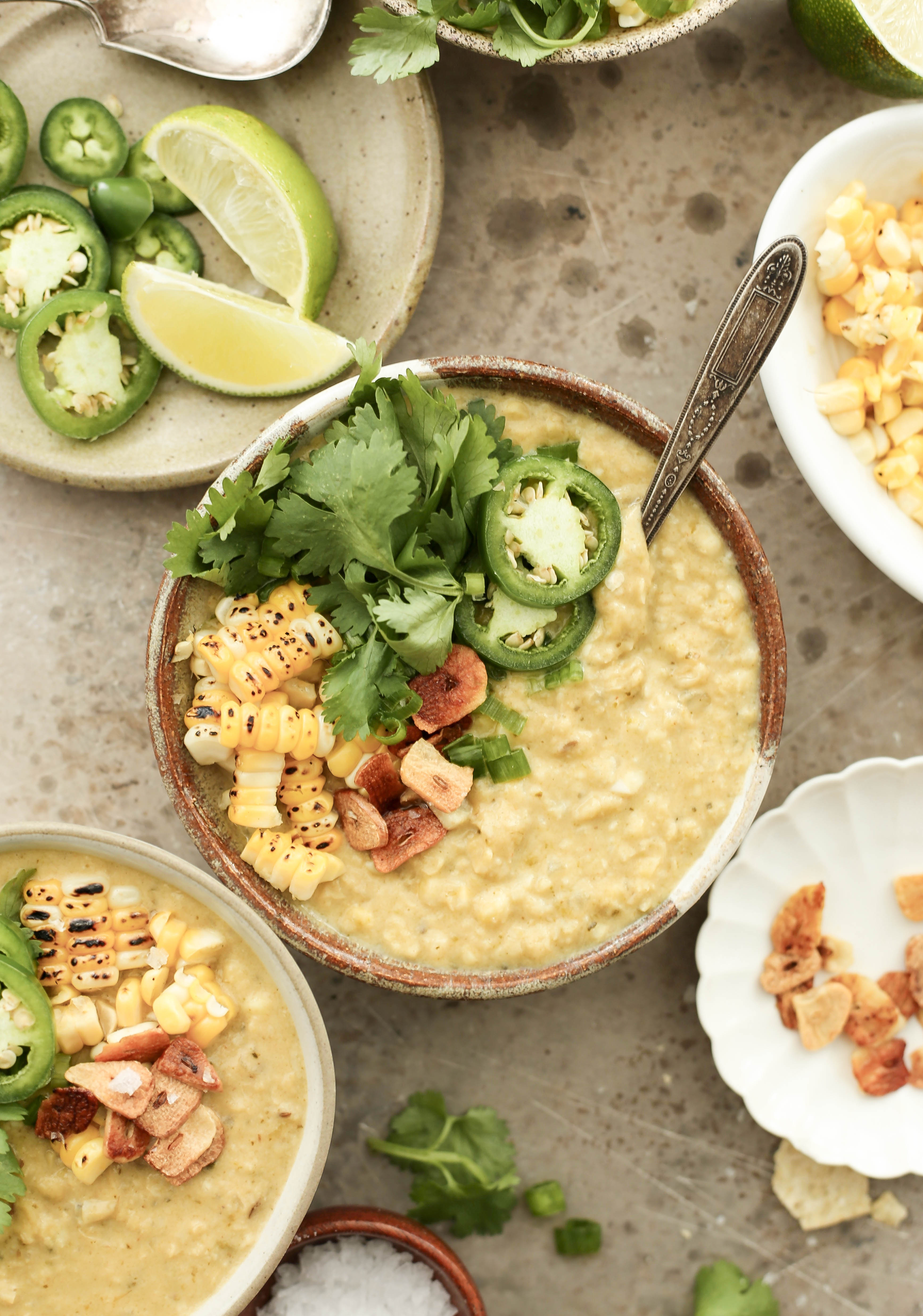 one pot spicy and vegan corn soup with poblano peppers and coconut milk