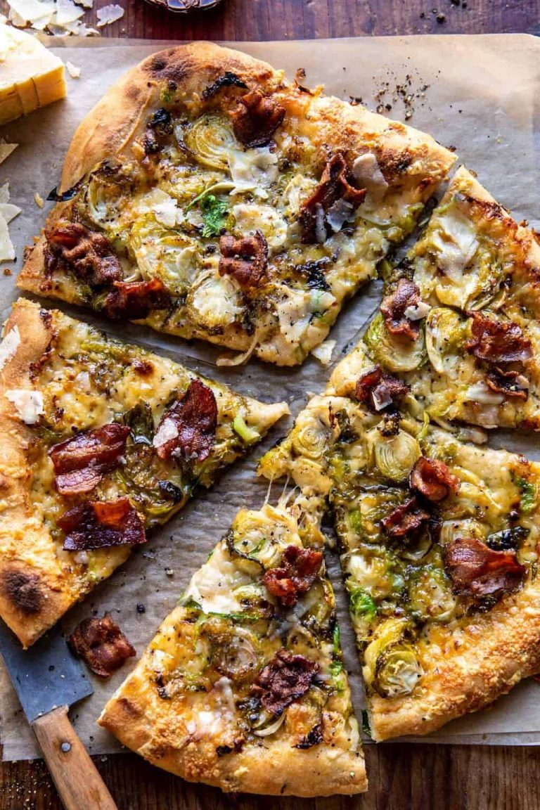shaved brussels and bacon pizza