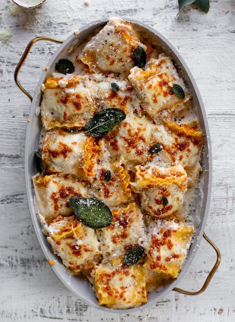pumpkin lasagna rollups with crispy sage