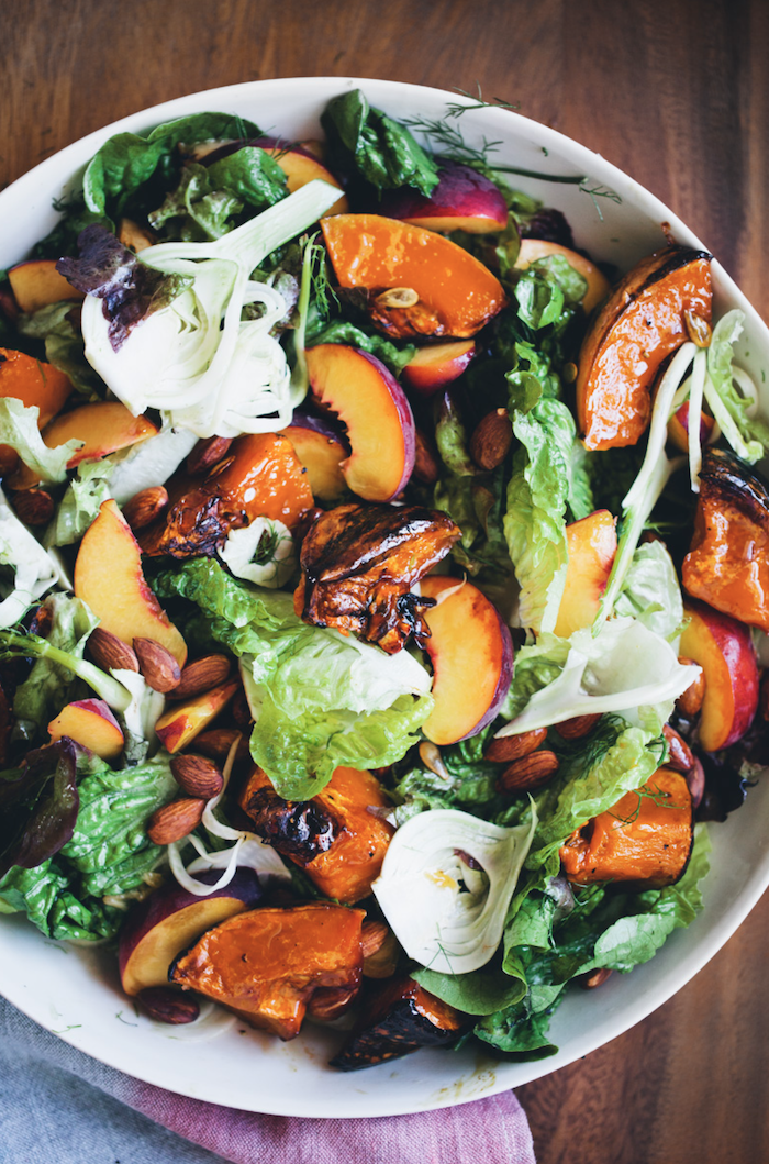 Roasted pumpkin, fennel and peach salad from green kitchen stories