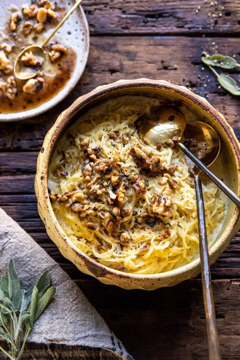 creamed spaghettin squash with browned butter walnuts