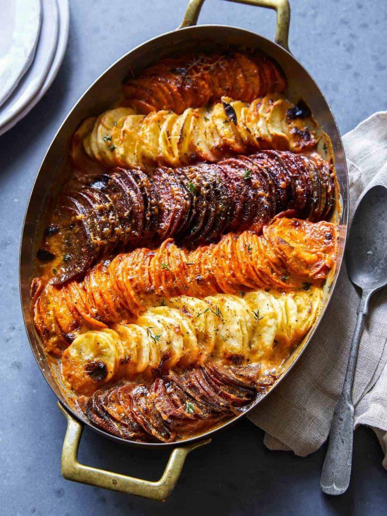cheesy root veggie gratin