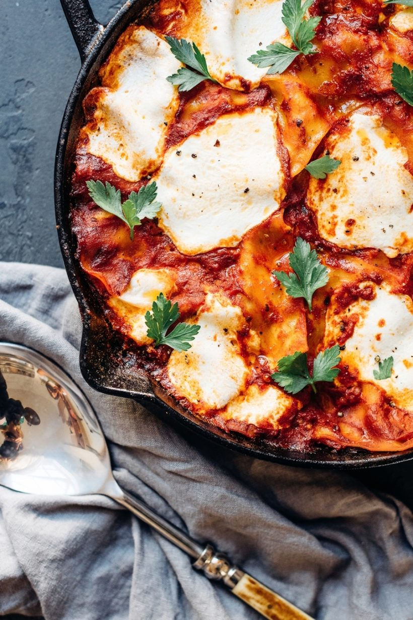 easy skillet lasagna with eggplant-one pot dinner-barilla