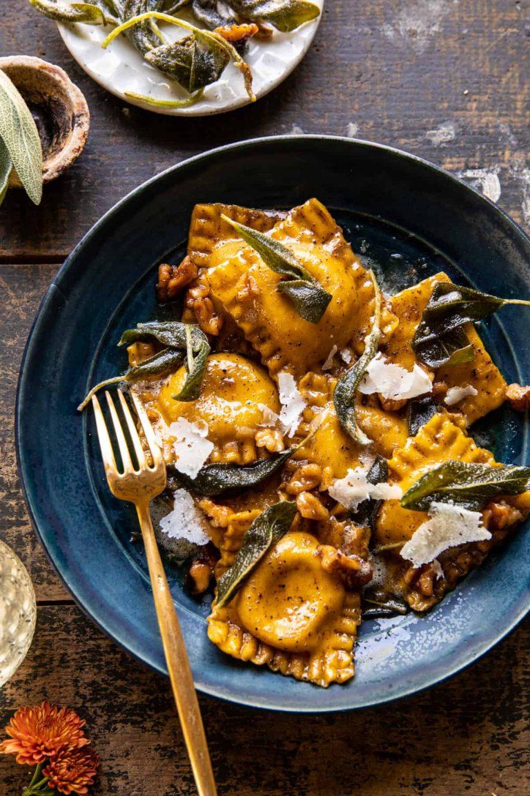 sage butter pumpkin cheese ravioli